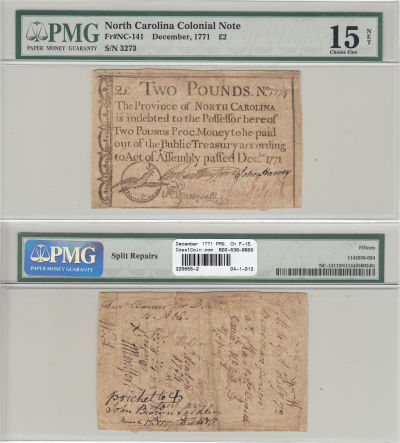 December 1771. NC. Two Pounds. PMG. Ch F-15. Net.