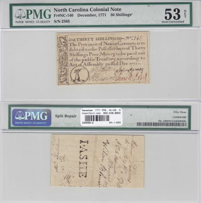 December 1771. NC. Thirty Shillings. PMG. AU-53. N