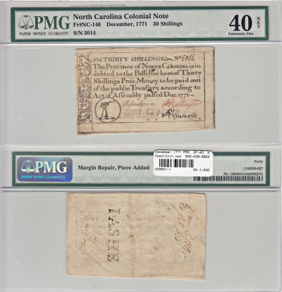 December 1771. NC. Thirty Shillings. PMG. XF-40. N