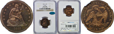 1865. Quarter. NGC. PR-65. RB. J-426.
