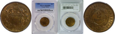 1864 Large Motto. PCGS. MS-65. RB.