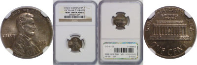 1976-D. NGC. MS-64. Cent. Wrong Planchet.