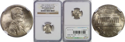 1986. NGC. MS-63. Cent. Wrong Planchet.