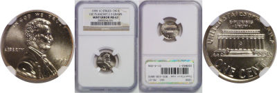 1999. NGC. MS-67. Cent. Wrong Planchet.
