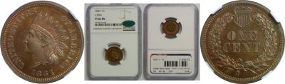 1864. One Cent. NGC. PR-66. BN. J-356a.