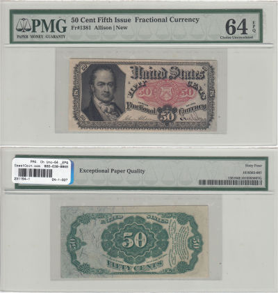 50 Cents. 5th Issue. PMG. Ch Unc-64. EPQ. F-1381.