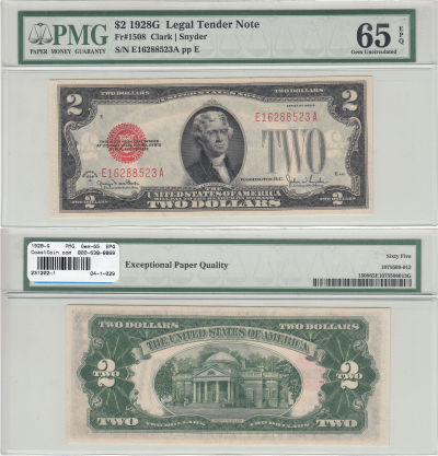 1928-G. $2. F-1508. PMG. Gem-65. EPQ. Legal Tender