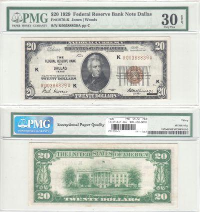1929. $20. F-1870-K. PMG. VF-30. EPQ. Federal Rese