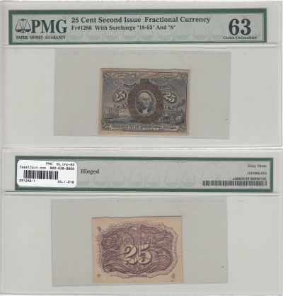 25c. 2nd Issue. PMG. Ch Unc-63. F-1286.