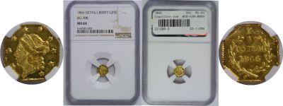 1866. NGC. MS-64. California Fractional Gold.
