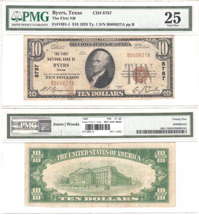 1929. $10. PMG. VF-25. TX. Byers. Charter 8787.