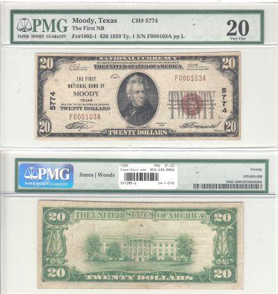 1929. $20. PMG. VF-20. TX. Moody. Charter 5774.