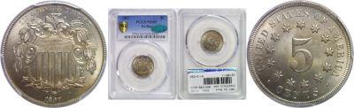 1867 No Rays. PCGS. MS-65.