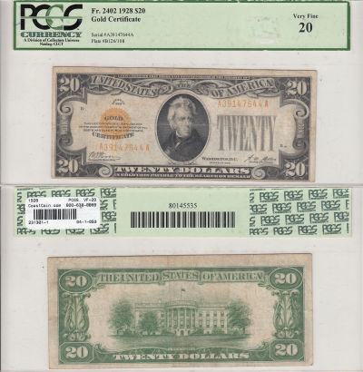 1928. $20. F-2402. PCGS. VF-20. Gold Certificate.