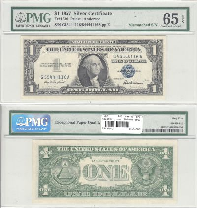 1957. $1. PMG. Gem-65. EPQ. Silver Certificate.