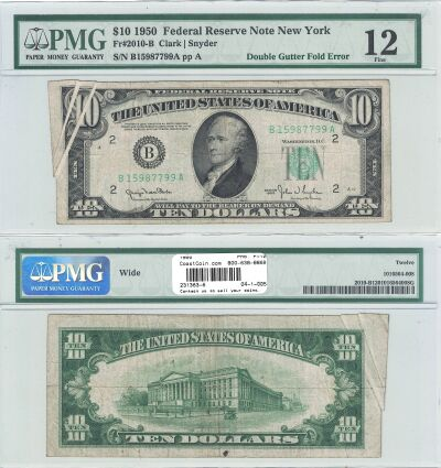 1950. $10. PMG. F-12. Federal Reserve Note.