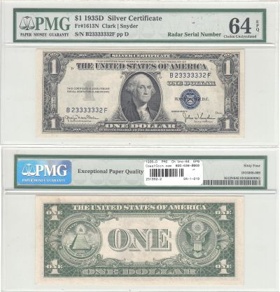 1935-D. $1. F-1613N. PMG. Ch Unc-64. EPQ. Silver C