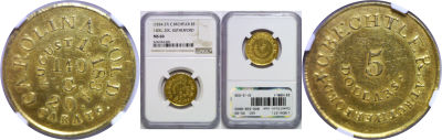(1834-37). NGC. MS-60. C. Bechtler $5 Georgia Gold