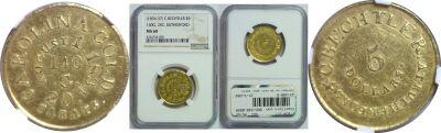 (1834-37). NGC. MS-60. C. Bechtler $5 Gold.