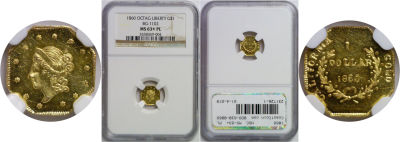 1860. NGC. MS-63+. PL. California Fractional Gold.