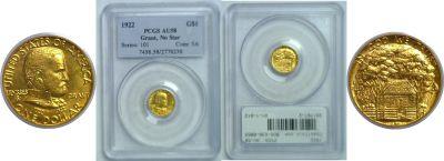 1922. PCGS. AU-58. Grant $1.