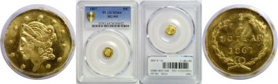 1867. PCGS. MS-64. California Fractional Gold.