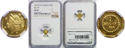 1854. NGC. MS-65. California Fractional Gold.