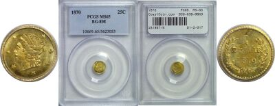 1870. PCGS. MS-65. California Fractional Gold.