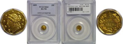 1859. PCGS. MS-62. California Fractional Gold.