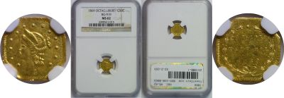 1869. NGC. MS-62. California Fractional Gold.