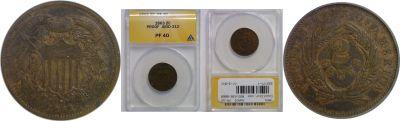 1863. Two Cent. ANACS. PR-40. J-312.