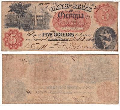 1860. $5. FINE. GA.