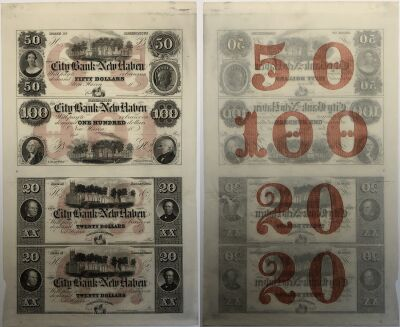 1860's. $20/$50/$100. CU. CT.