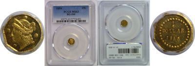 1854. PCGS. MS-63. California Fractional Gold.