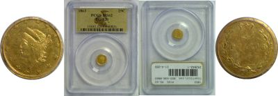 1863. PCGS. MS-62. California Fractional Gold.