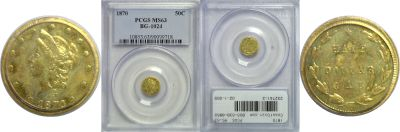1870. PCGS. MS-63. California Fractional Gold.