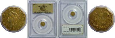 1860. PCGS. AU-55. California Fractional Gold.