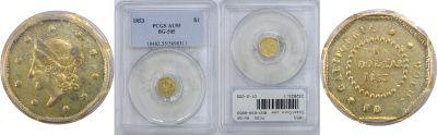 1853. PCGS. AU-55. California Fractional Gold.