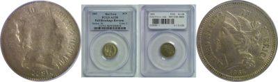 1865. PCGS. AU-58. Three Cent-Nickel. Brockage.