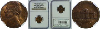 1980. NGC. MS-63. RB. Nickel. Wrong Planchet.