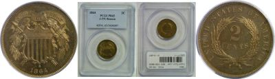 1864. Two Cent. PCGS. PR-65. J-371.