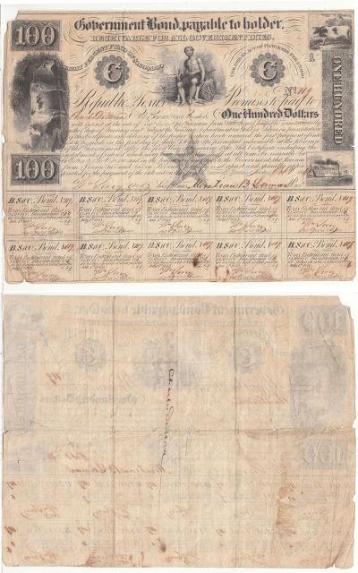 1840. $100. VG. TX.