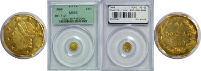 1869. PCGS. MS-65. California Fractional Gold.