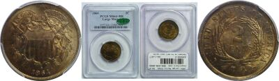 1864 Large Motto. PCGS. MS-64+. RB.
