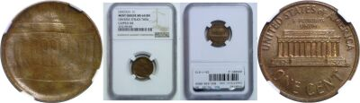 Undated. NGC. MS-64. BN. Cent. Obverse Struck Thru