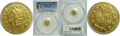 1869. PCGS. AU-55. California Fractional Gold.