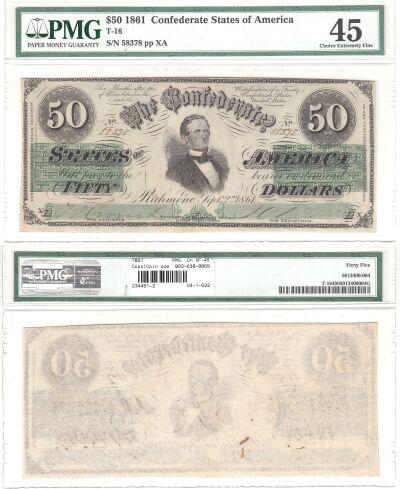 1861. $50. PMG. Ch XF-45. T-16.