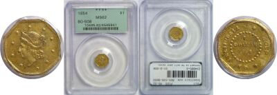 1854. PCGS. MS-62. California Fractional Gold.