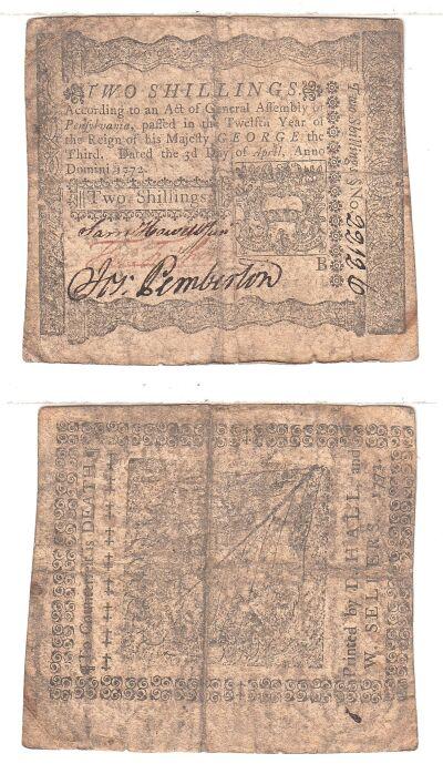 4/3/1772. PA. Two Shillings. Fine+.