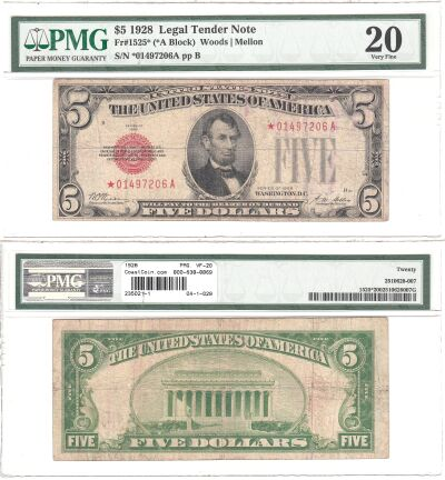 1928. $5. F-1525*. PMG. VF-20. Legal Tender Note.